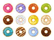 Azúcar de los anillos de espuma de los dulces esmaltado El vector fríe iconos del buñuelo de los pasteles con los agujeros en el  ilustración del vector