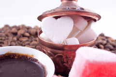 Azúcar en forma de corazón de la tarjeta del día de San Valentín Imagenes de archivo