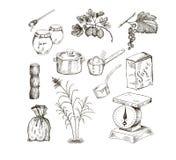 Azúcar y atasco Stock de ilustración