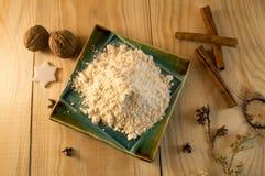 Azúcar y canela de la harina Fotografía de archivo