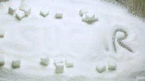 Azúcar y cubos del azúcar almacen de video