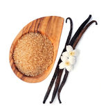 Azúcar y palillos de la vainilla con las flores Imagen de archivo libre de regalías