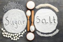 Azúcar y sal de la inscripción fotos de archivo libres de regalías