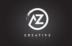 AZ Circular Letter Logo with Circle Brush Design and Black Background. stock illustration