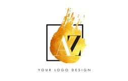 AZ Gouden Brief Logo Painted Brush Texture Strokes Stock Afbeeldingen