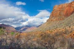 AZ-Grand Canyon-Bright Angel Trail near Indian Gardens. Arizona, grand canyon national park, s rim, bright angel trail near indian gardens, snow above on trail Stock Photo