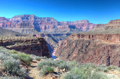 AZ-Grand Canyon-S Rim-Tonto Trail West-view of Colorado Stock Photography