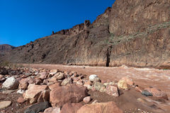 AZ-Grand Canyon-where Nonument Creek joins the Colorado River at Granite Rapids Stock Photography