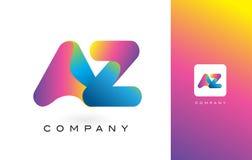 AZ Logo Letter With Rainbow Vibrant Mooie Kleuren Kleurrijk t Royalty-vrije Stock Foto's