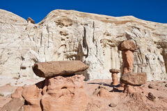 AZ-near Page_Wahweap Hoodoos. Hiking through this beautiful landscape reminds one of walking in the land of giant mushrooms Royalty Free Stock Image