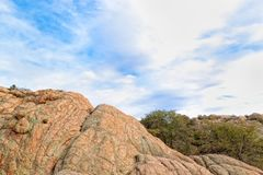 AZ-Prescott-Granite Dells. This is one of the numerous granite boulders of the Granite Dells, a popular climbing and hiking area in Prescott, AZ Royalty Free Stock Photo