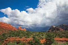 AZ-Sedona-Huckaby Trail. This image was taken on the Huckaby Trail in Sedona, AZ in late afternoon with an impending thunderstorm Stock Photography
