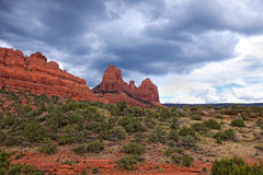AZ-Sedona-Schnebly Hill Road Mittens area. A hike over the spectacular desert terrain in the  Mittens and Cowpie area reveals the true beauty of Sedona Royalty Free Stock Image