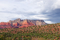 AZ-Sedona-Schnebly Hill Road Mittens area. A hike over the spectacular desert terrain in the  Mittens and Cowpie area reveals the true beauty of Sedona Stock Photo