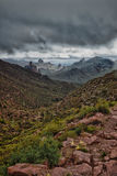 AZ-Superstition Mountan Wilderness. The view from the Bark's Canyon Trail is spectacular, especially after a thunderstorm, which is a rarity in this area Royalty Free Stock Photo