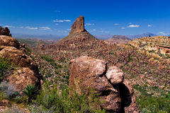 AZ- Superstition Mountans -Weaver's Need. After heading across the Carney Springs Trail towards the Fremont Saddle, the view of Weaver\'s Needle proves Royalty Free Stock Photography