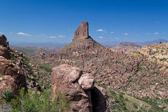 AZ-Superstition Mtn. Wilderness. This one of the numerous scenic views of Weaver's Needle in the Superstition Mountain Wilderness Stock Photography