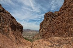 AZ-Superstsition Mountain Wilderness. This image was taken from the Siphon Draw Trail looking towards Apache Junction Royalty Free Stock Photography