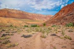 AZ-UT-Paria峡谷银朱的峭壁原野Paria河峡谷 库存照片