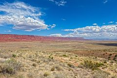 AZ-Vermillion Cliffs. The Vermillion Cliffs are a spectacular sight when heading down in elevation from the North Rim of the Grand Canyon Royalty Free Stock Image