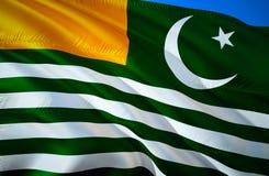 Azad Kashmir flag. 3D Waving flag design. The national symbol of Azad Kashmir, 3D rendering. The national symbol of Azad Kashmir. Background wallpaper. 3D royalty free stock photo