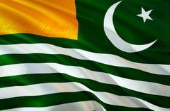 Azad Kashmir flag. 3D Waving flag design. The national symbol of Azad Kashmir, 3D rendering. National colors and National flag of. Azad Kashmir for a background stock photography