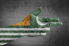 Azad Kashmir flag painted on male hand like a gun. Isolated on white background stock photo