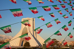 Free Azadi Monument And Celebration Iran Flags In Tehran Royalty Free Stock Image - 29798956