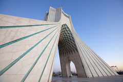 Azadi Monument Side Perspective in Dusk. Side view of Azadi square, the famous landmark of Tehran, Iran royalty free stock photography