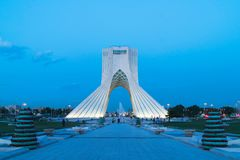 Azadi Tower in Tehran, Iran. The Azadi Tower, formerly known as the Shahyad Tower is a monument located at Azadi Square, in Tehran, Iran. It is one of the stock image