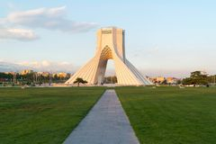 Azadi Tower in Tehran, Iran. The Azadi Tower, formerly known as the Shahyad Tower is a monument located at Azadi Square, in Tehran, Iran. It is one of the royalty free stock photography