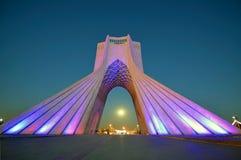 Azadi tower. At night in Tehran royalty free stock photo