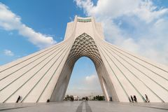 Azadi Tower in Tehran, Iran. The Azadi Tower, formerly known as the Shahyad Tower is a monument located at Azadi Square, in Tehran, Iran. It is one of the stock images