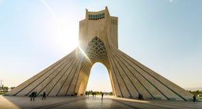 Azadi tower in Tehran. Watching the sun going down on Azadi tower in Tehran stock photos
