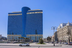 Azadlig avenue, Baku city, Azerbaijan - on March 29, 2017. City panorama of the hotel building `Hilton`. Azadlig avenue, Baku city, Azerbaijan. City panorama of Royalty Free Stock Photos
