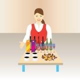 Azafata con una tabla y las bebidas Fotografía de archivo libre de regalías
