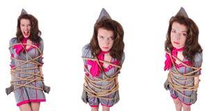 Azafata joven implicada con una cuerda imagenes de archivo