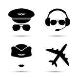 Azafata, piloto, iconos del vector del aeroplano Fotografía de archivo