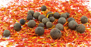 azafrán, pimienta inglesa negra Imagen de archivo libre de regalías