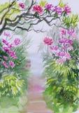 Azalea alley watercolor Royalty Free Stock Photo