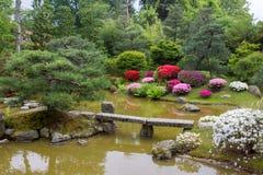 Azalea  blossom  and pond  in Japanese  Garden. Potsdam , Germany stock images