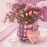 Azalea en la ventana adornada con un corazón decorativo y gotas Imagen de archivo libre de regalías