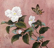 Azalea flower and butterfly Stock Photo