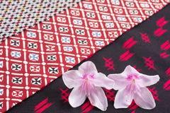 Azalea flowers on cloth Royalty Free Stock Images