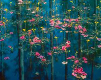 Free Azalea Petals And Yellow Flowers Float On A Swamp In Louisiana Royalty Free Stock Image - 189605556
