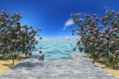 Azalea walkway to the sea. 3d illustration of a beautiful azalea walkway to the sea under bright blue sky Stock Image