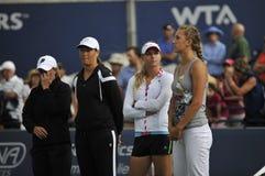 Azarenka and Kirilenko tennis stars Stock Photography