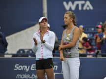 Azarenka and Kirilenko tennis stars Royalty Free Stock Photography