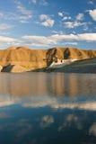 Azat reservoir under cloudy sky. Reflection of cloudy sky in blue waters of Azat reservoir in Ararat Marz Stock Image