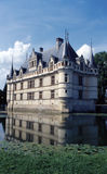 Azay-le-Rideau. Castle reflecting in the water of the moat Royalty Free Stock Photos